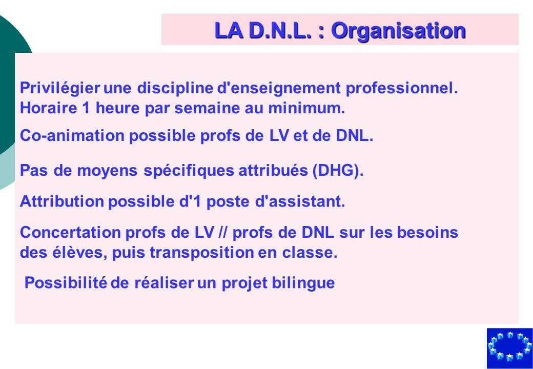 LA D.N.L. : Organisation Privilégier une discipline d'enseignement professionnel. Horaire 1 heure par semaine au minimum. Co-animation possible profs