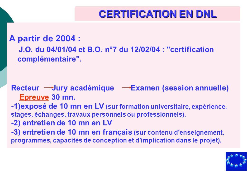 CERTIFICATION EN DNL Recteur Jury académique Examen (session annuelle) Epreuve 30 mn. -1)exposé de 10 mn en LV (sur formation universitaire, expérienc