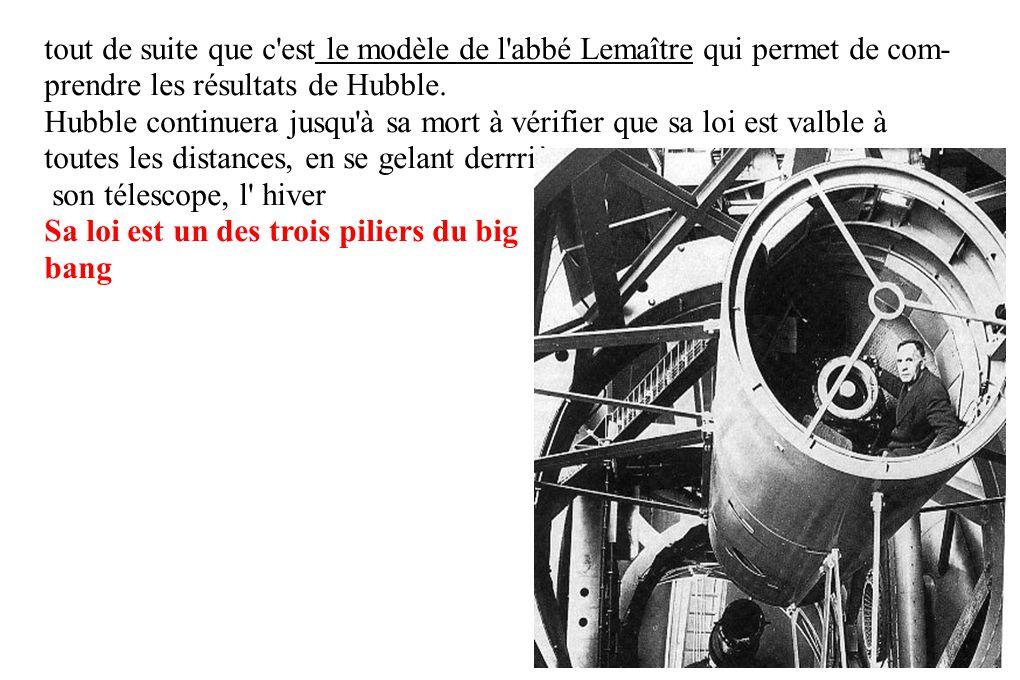 tout de suite que c'est le modèle de l'abbé Lemaître qui permet de com- prendre les résultats de Hubble. Hubble continuera jusqu'à sa mort à vérifier
