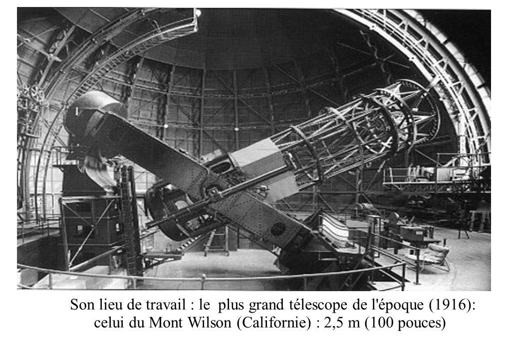 Son lieu de travail : le plus grand télescope de l'époque (1916): celui du Mont Wilson (Californie) : 2,5 m (100 pouces)
