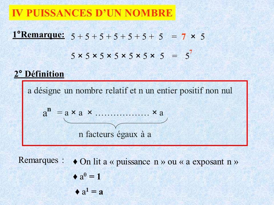 IV PUISSANCES DUN NOMBRE 1°Remarque: 5 + 5 + 5 + 5 + 5 + 5 + 5 = 7 × 5 5 × 5 × 5 × 5 × 5 × 5 × 5=5 7 2° Définition a désigne un nombre relatif et n un