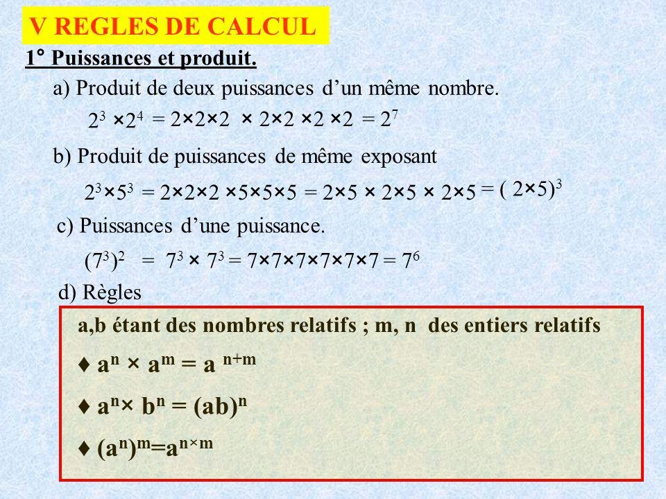 V REGLES DE CALCUL 1° Puissances et produit. a) Produit de deux puissances dun même nombre. 2 3 ×2 4 = 2×2×2 × 2×2 ×2 ×2= 2 7 b) Produit de puissances