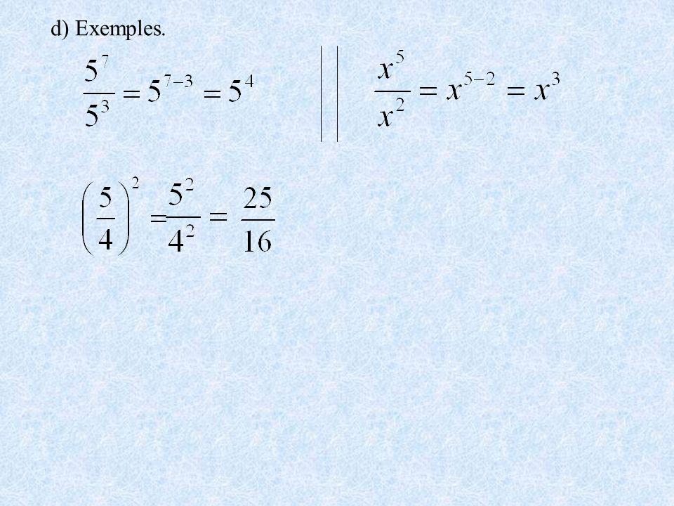 d) Exemples.