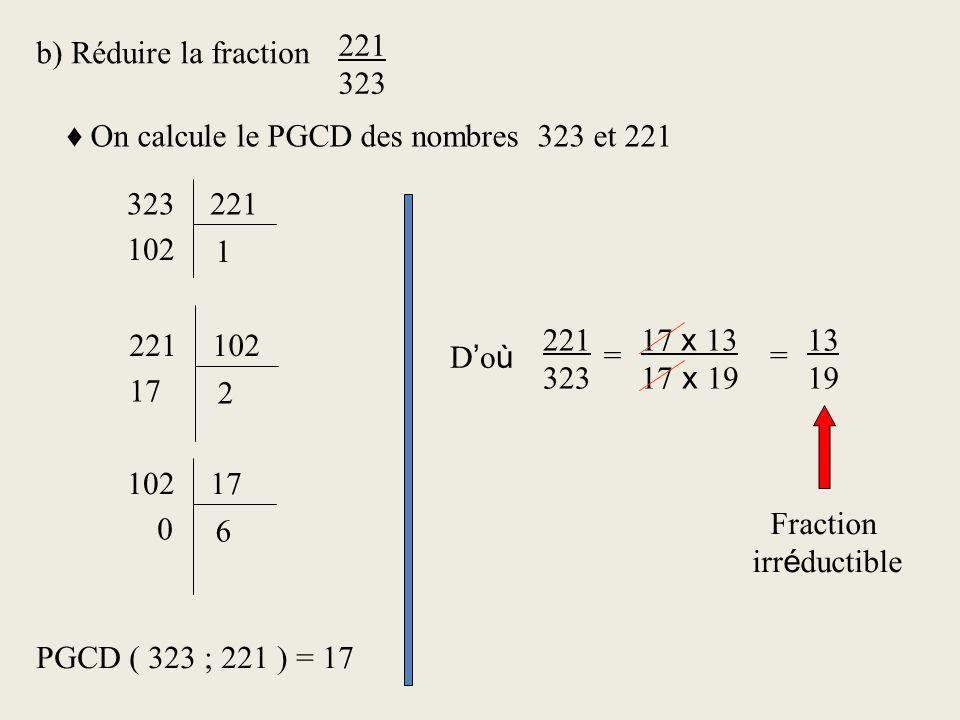 b) Réduire la fraction 221 323 On calcule le PGCD des nombres 323 et 221 323221 1 102 221102 2 17 10217 6 0 PGCD ( 323 ; 221 ) = 17 221 323 = 17 x 13 17 x 19 13 19 = D o ù Fraction irr é ductible