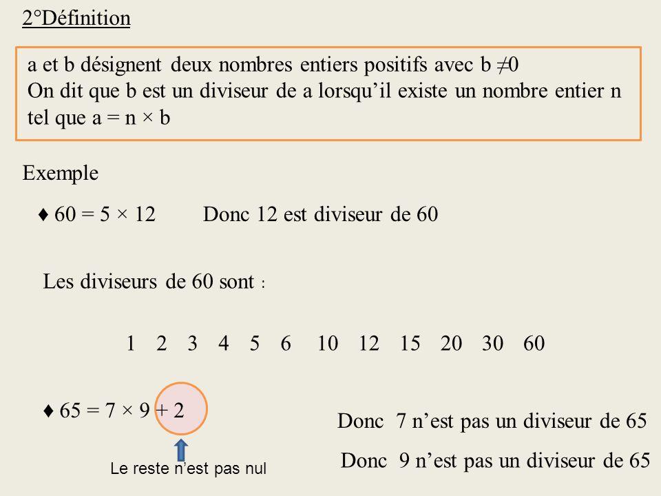 2°Définition a et b désignent deux nombres entiers positifs avec b 0 On dit que b est un diviseur de a lorsquil existe un nombre entier n tel que a =