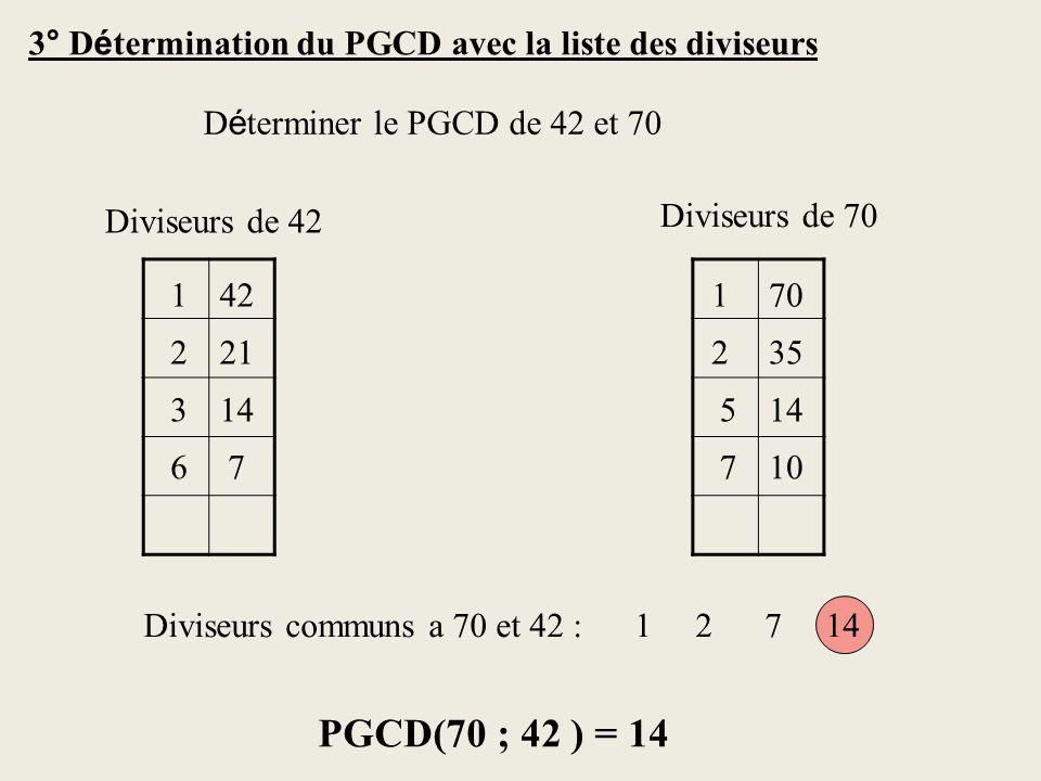 3° D é termination du PGCD avec la liste des diviseurs D é terminer le PGCD de 42 et 70 142 221 314 67 170 235 514 710 PGCD(70 ; 42 ) = 14 Diviseurs de 42 Diviseurs de 70 Diviseurs communs a 70 et 42 : 1 2 7 14