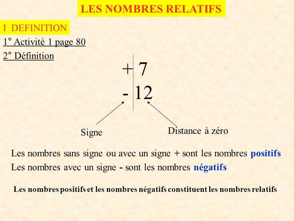 LES NOMBRES RELATIFS I DEFINITION 1° Activité 1 page 80 2° Définition + 7 - 12 Signe Distance à zéro Les nombres sans signe ou avec un signe + sont le