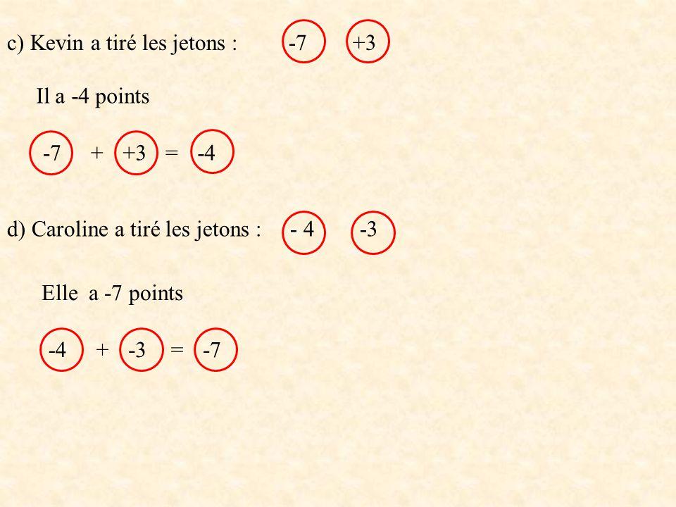 c) Kevin a tiré les jetons : -7 +3 d) Caroline a tiré les jetons : - 4 -3 -7+3+=-4 Il a -4 points -4-3+=-7 Elle a -7 points