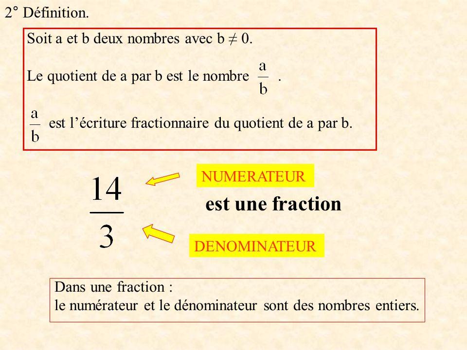 2° Définition. Soit a et b deux nombres avec b 0. Le quotient de a par b est le nombre. est lécriture fractionnaire du quotient de a par b. est une fr