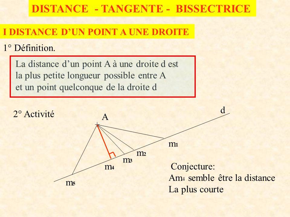 DISTANCE - TANGENTE - BISSECTRICE I DISTANCE DUN POINT A UNE DROITE 1° Définition. La distance dun point A à une droite d est la plus petite longueur