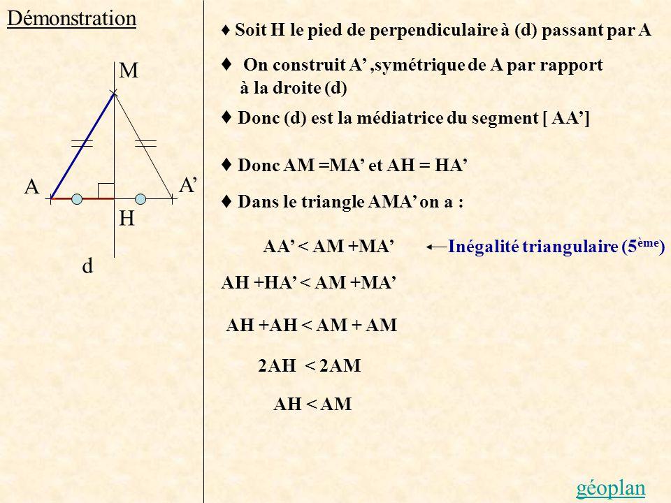 Démonstration On construit A,symétrique de A par rapport à la droite (d) Donc (d) est la médiatrice du segment [ AA] d A M H Soit H le pied de perpend