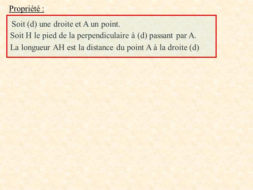 Propriété : Soit (d) une droite et A un point. Soit H le pied de la perpendiculaire à (d) passant par A. La longueur AH est la distance du point A à l