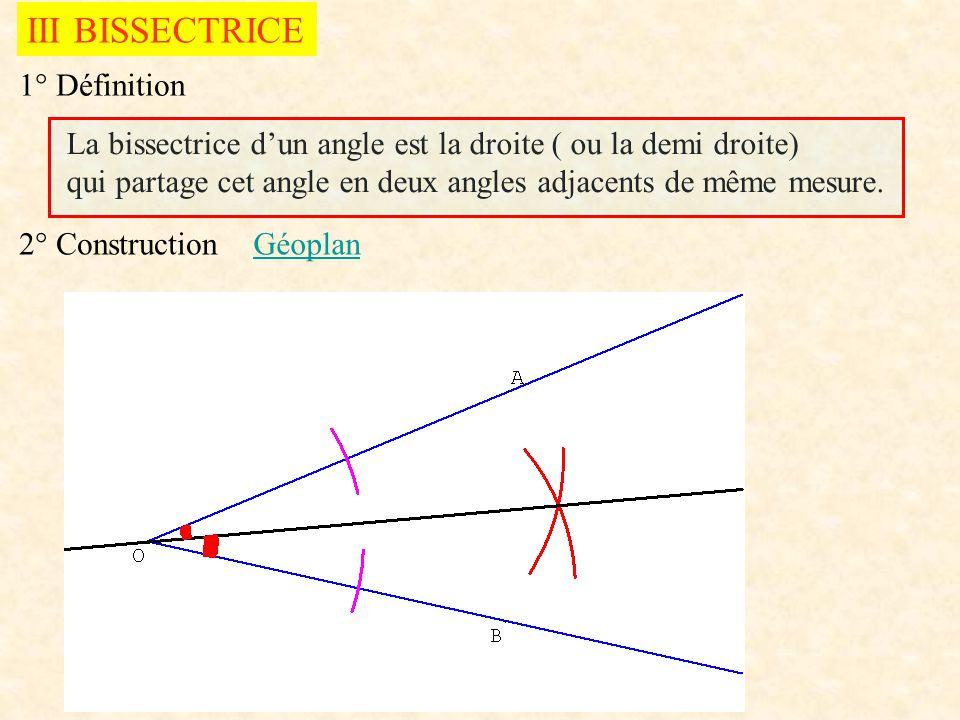 III BISSECTRICE 1° Définition La bissectrice dun angle est la droite ( ou la demi droite) qui partage cet angle en deux angles adjacents de même mesur