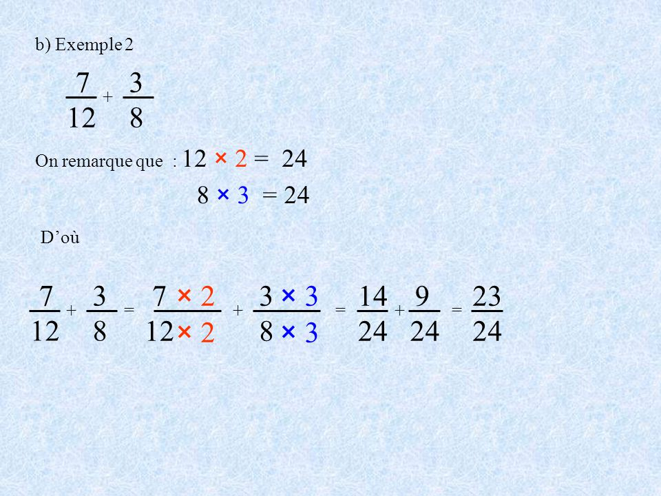 b) Exemple 2 = 7 12 × 2 + 3838 × 3 = 14 24 + 9 24 = 23 24 7 12 + 3838 On remarque que : 12 × 2 = 24 8 × 3 = 24 + 7 12 3838 Doù