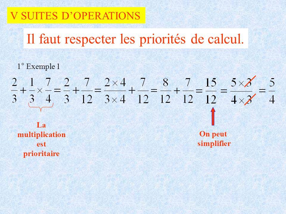 V SUITES DOPERATIONS Il faut respecter les priorités de calcul. 1° Exemple 1 La multiplication est prioritaire On peut simplifier