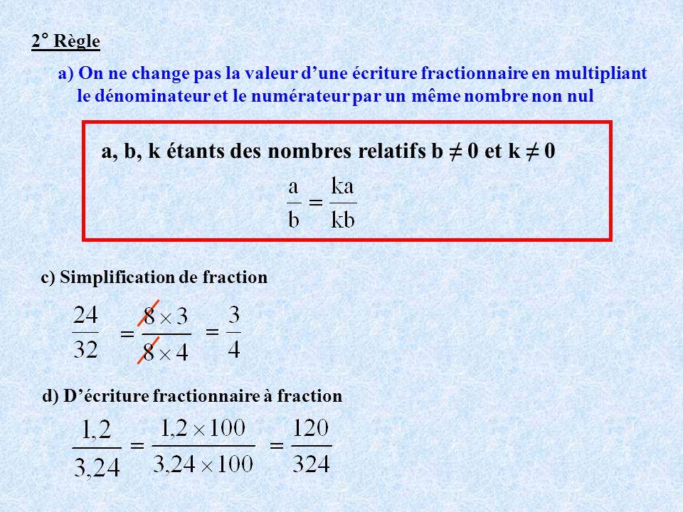 2° Règle a) On ne change pas la valeur dune écriture fractionnaire en multipliant le dénominateur et le numérateur par un même nombre non nul a, b, k