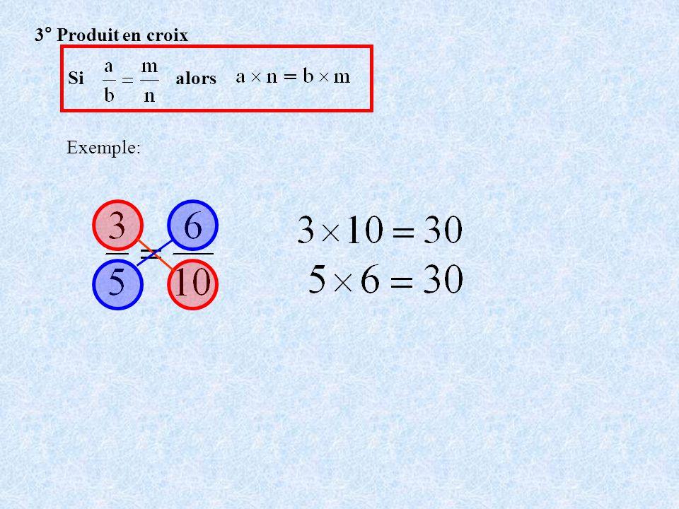 4° Quatrième proportionnelle Trouver la valeur du nombre x tel que : On fait le produit en croix Doù x = 1,2