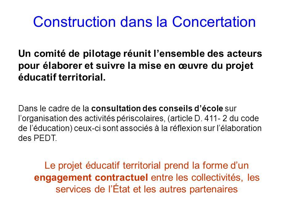 Construction dans la Concertation Un comité de pilotage réunit lensemble des acteurs pour élaborer et suivre la mise en œuvre du projet éducatif territorial.