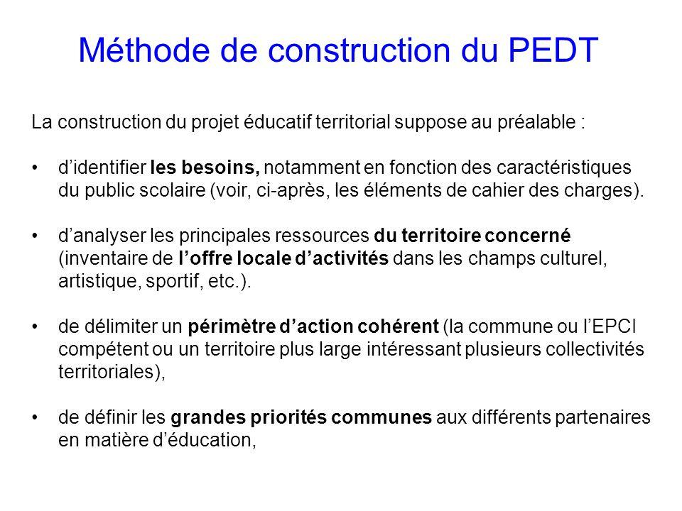 La construction du projet éducatif territorial suppose au préalable : didentifier les besoins, notamment en fonction des caractéristiques du public scolaire (voir, ci-après, les éléments de cahier des charges).