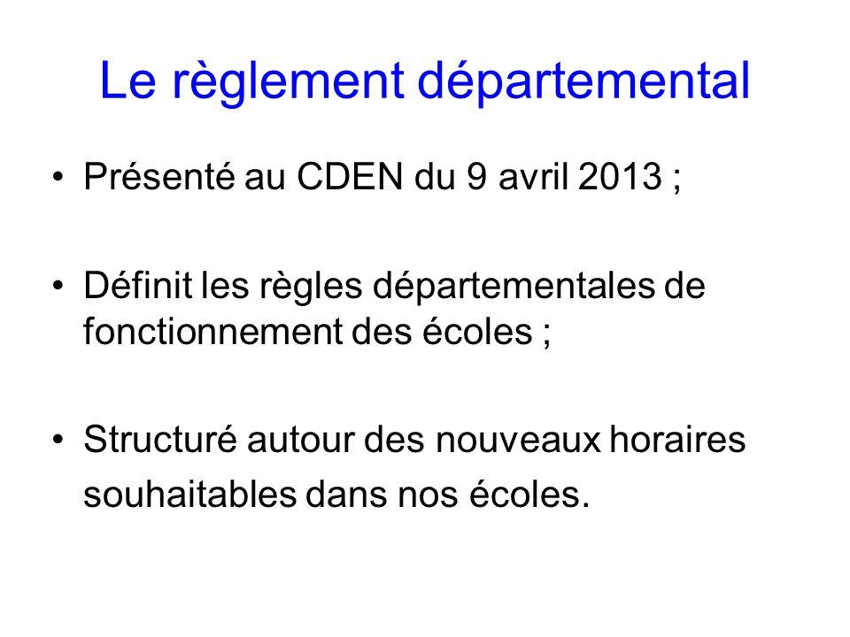 Le règlement départemental Présenté au CDEN du 9 avril 2013 ; Définit les règles départementales de fonctionnement des écoles ; Structuré autour des nouveaux horaires souhaitables dans nos écoles.