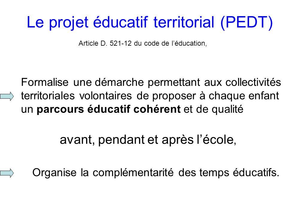 Le projet éducatif territorial (PEDT) Article D.