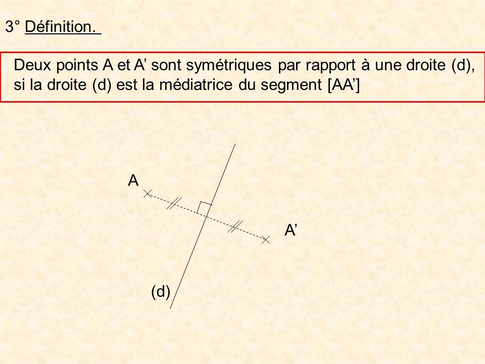 3° Définition. Deux points A et A sont symétriques par rapport à une droite (d), si la droite (d) est la médiatrice du segment [AA] A A (d)