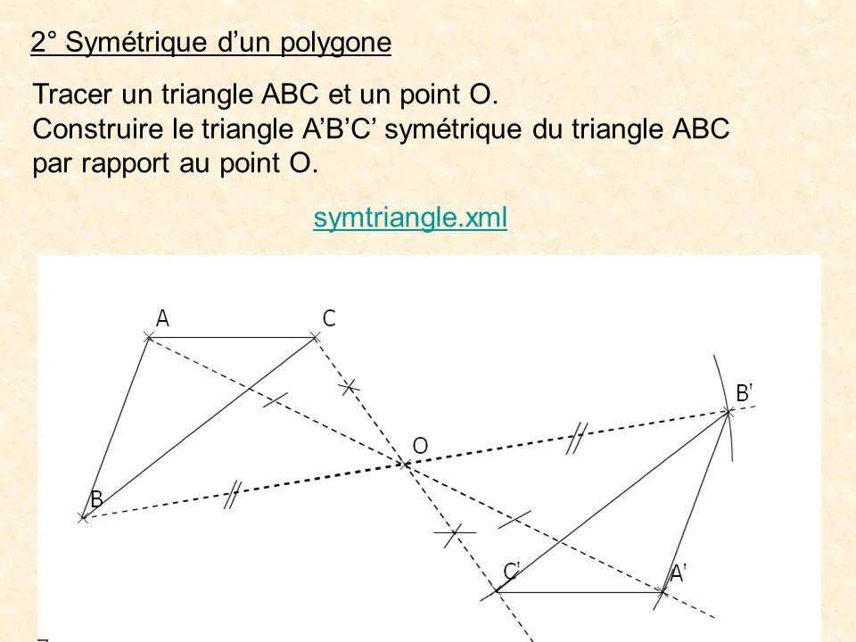 2° Symétrique dun polygone Tracer un triangle ABC et un point O. Construire le triangle ABC symétrique du triangle ABC par rapport au point O. symtria