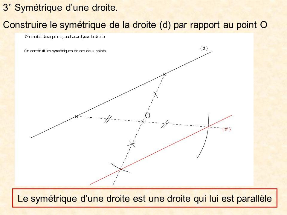 3° Symétrique dune droite. Construire le symétrique de la droite (d) par rapport au point O symdroite.xml Le symétrique dune droite est une droite qui