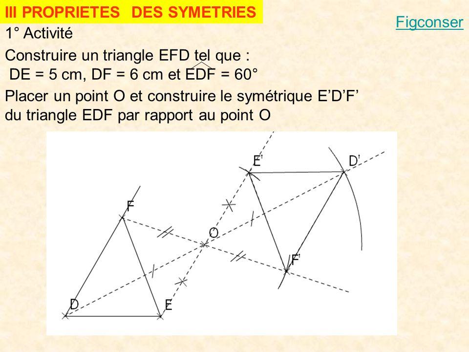 III PROPRIETES DES SYMETRIES 1° Activité Construire un triangle EFD tel que : DE = 5 cm, DF = 6 cm et EDF = 60° Placer un point O et construire le sym