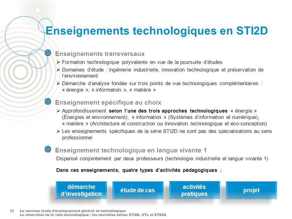 Le nouveau lycée denseignement général et technologique La rénovation de la voie technologique : les nouvelles séries STI2D, STL et STD2A 15 Enseignem