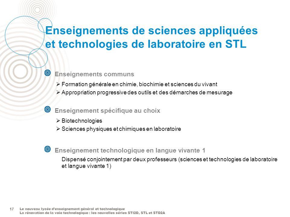 Le nouveau lycée denseignement général et technologique La rénovation de la voie technologique : les nouvelles séries STI2D, STL et STD2A 17 Enseignem