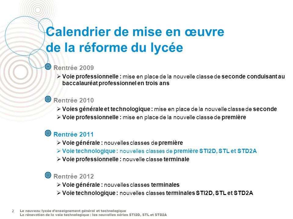 Le nouveau lycée denseignement général et technologique La rénovation de la voie technologique : les nouvelles séries STI2D, STL et STD2A 2 Calendrier