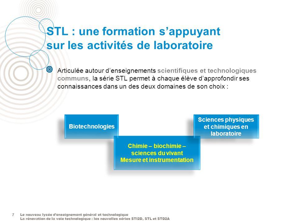 Le nouveau lycée denseignement général et technologique La rénovation de la voie technologique : les nouvelles séries STI2D, STL et STD2A 7 STL : une