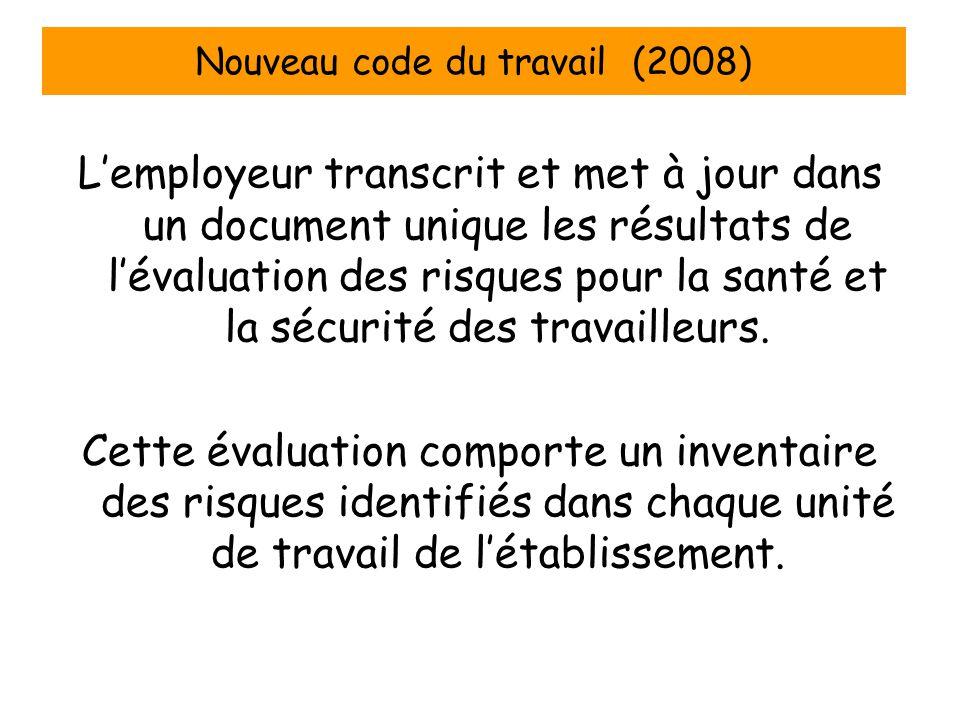 Nouveau code du travail (2008) Lemployeur transcrit et met à jour dans un document unique les résultats de lévaluation des risques pour la santé et la