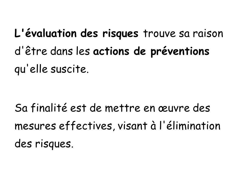 L'évaluation des risques trouve sa raison d'être dans les actions de préventions qu'elle suscite. Sa finalité est de mettre en œuvre des mesures effec