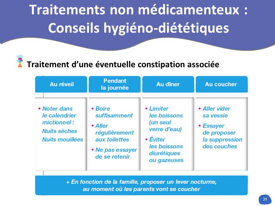 31 Traitements non médicamenteux : Conseils hygiéno-diététiques Traitement dune éventuelle constipation associée