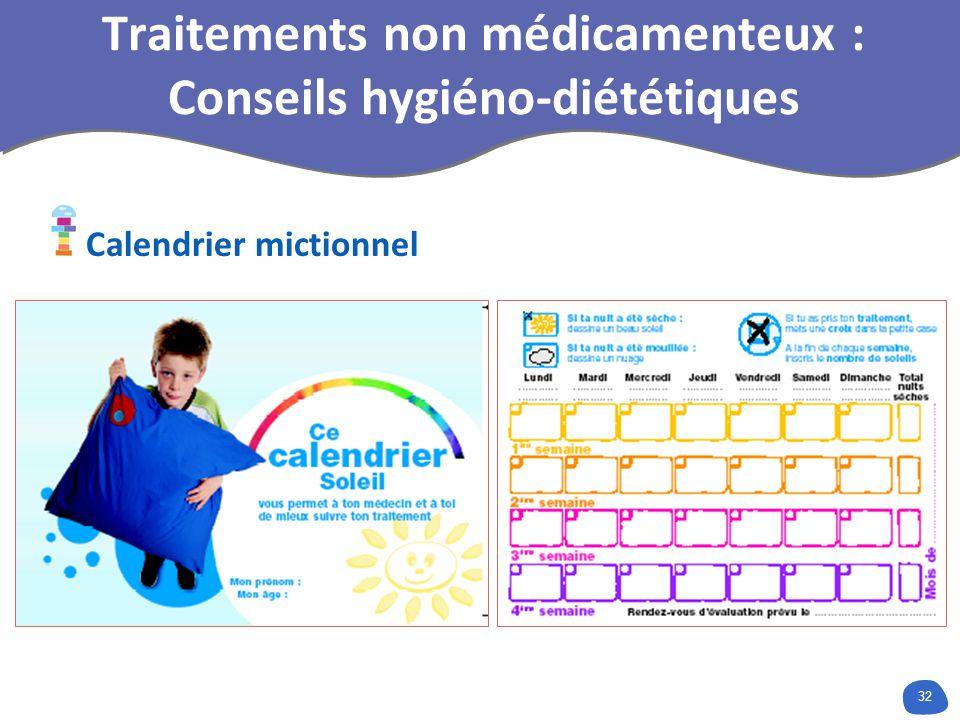 32 Traitements non médicamenteux : Conseils hygiéno-diététiques Calendrier mictionnel