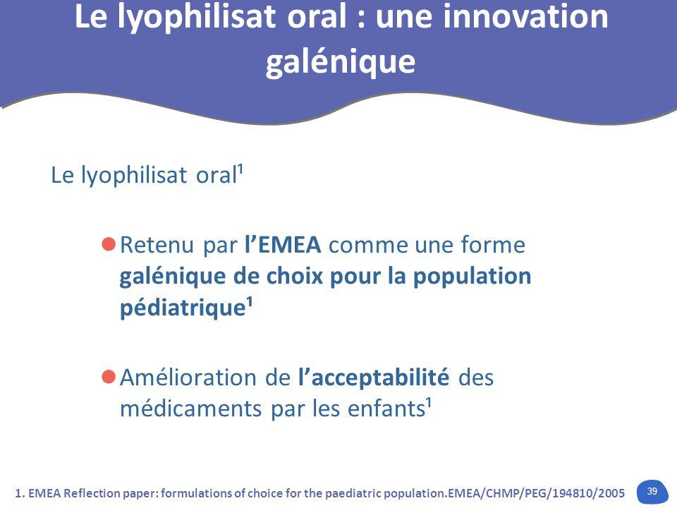 39 Le lyophilisat oral¹ Retenu par lEMEA comme une forme galénique de choix pour la population pédiatrique¹ Amélioration de lacceptabilité des médicam