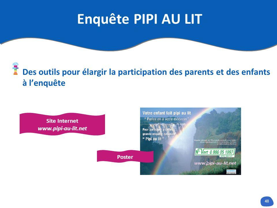 48 Enquête PIPI AU LIT Des outils pour élargir la participation des parents et des enfants à lenquête Site Internet www.pipi-au-lit.net Poster