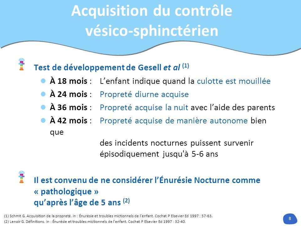 8 Acquisition du contrôle vésico-sphinctérien Test de développement de Gesell et al (1) À 18 mois : Lenfant indique quand la culotte est mouillée À 24