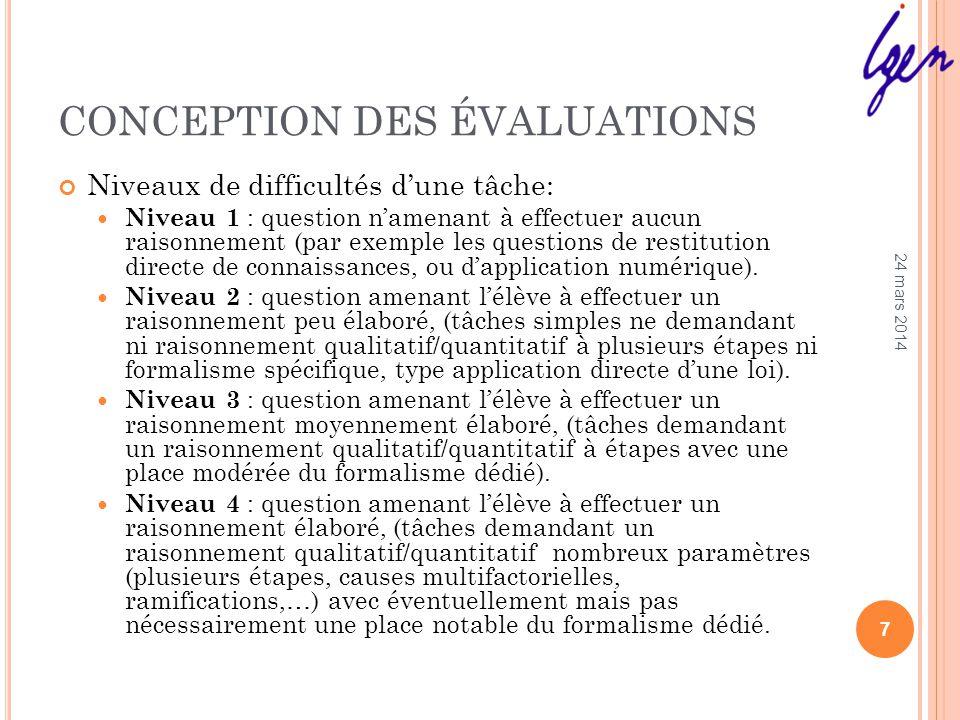 CONCEPTION DES ÉVALUATIONS Niveaux de difficultés dune tâche: Niveau 1 : question namenant à effectuer aucun raisonnement (par exemple les questions de restitution directe de connaissances, ou dapplication numérique).