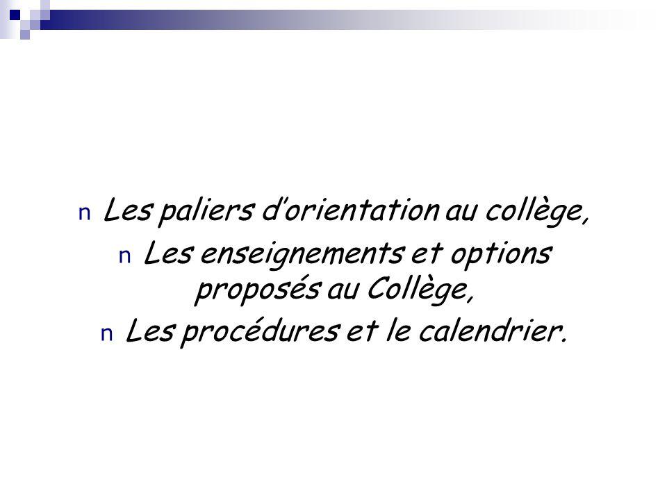 n Les paliers dorientation au collège, n Les enseignements et options proposés au Collège, n Les procédures et le calendrier.