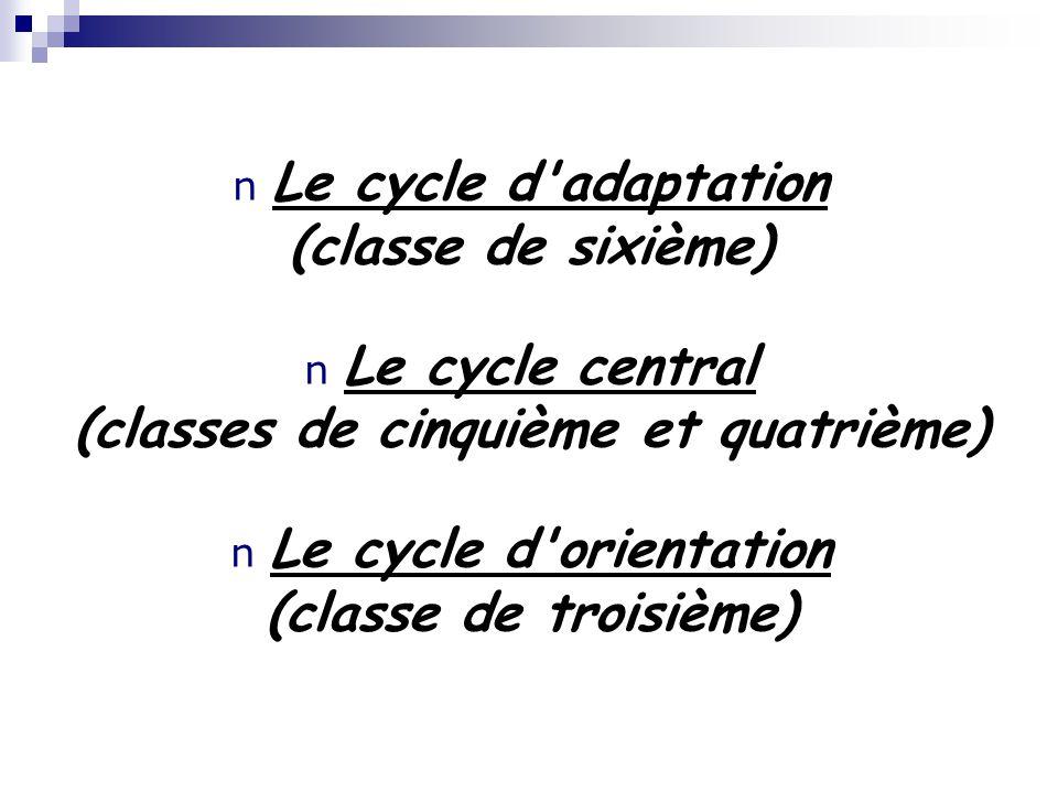 n Le cycle d'adaptation (classe de sixième) n Le cycle central (classes de cinquième et quatrième) n Le cycle d'orientation (classe de troisième)