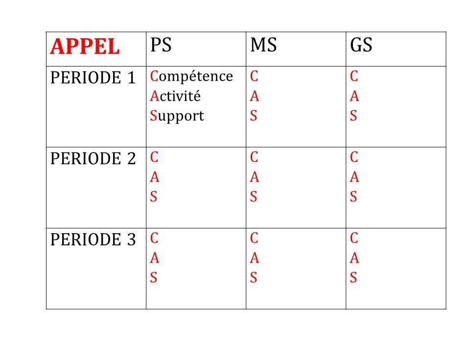 APPEL PSMSGS PERIODE 1 Compétence Activité Support CASCAS CASCAS PERIODE 2 CASCAS CASCAS CASCAS PERIODE 3 CASCAS CASCAS CASCAS
