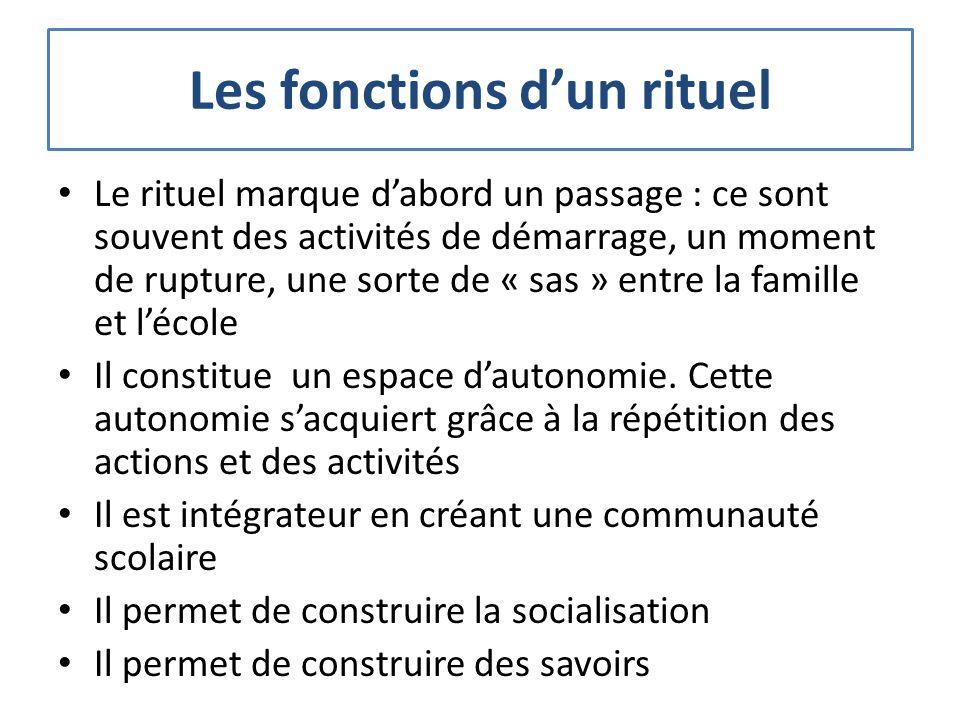 Les fonctions dun rituel Le rituel marque dabord un passage : ce sont souvent des activités de démarrage, un moment de rupture, une sorte de « sas » e