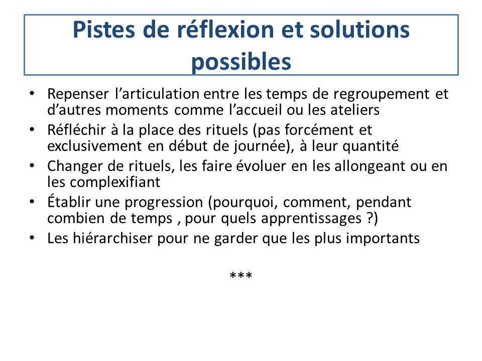 Pistes de réflexion et solutions possibles Repenser larticulation entre les temps de regroupement et dautres moments comme laccueil ou les ateliers Ré