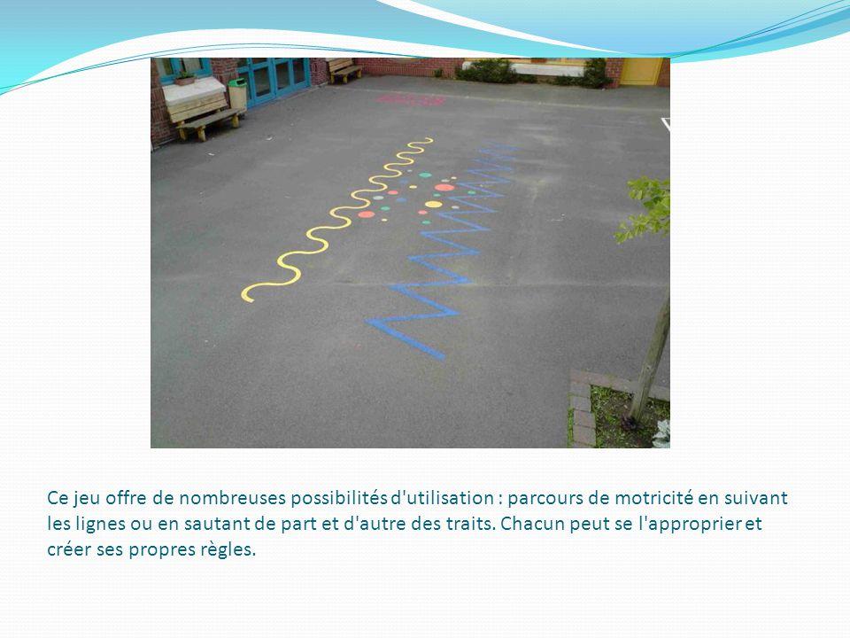 Ce jeu offre de nombreuses possibilités d'utilisation : parcours de motricité en suivant les lignes ou en sautant de part et d'autre des traits. Chacu