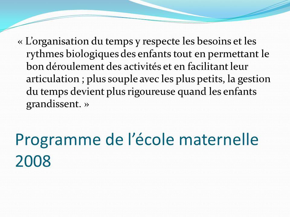 Programme de lécole maternelle 2008 « Lorganisation du temps y respecte les besoins et les rythmes biologiques des enfants tout en permettant le bon d
