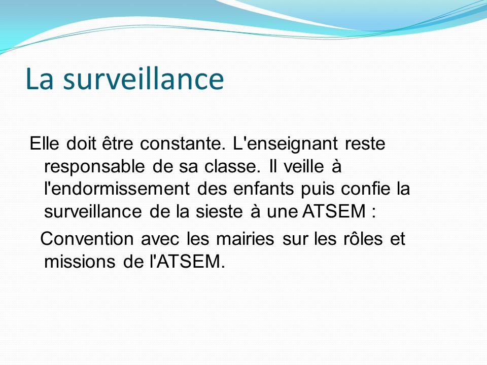 La surveillance Elle doit être constante.L enseignant reste responsable de sa classe.