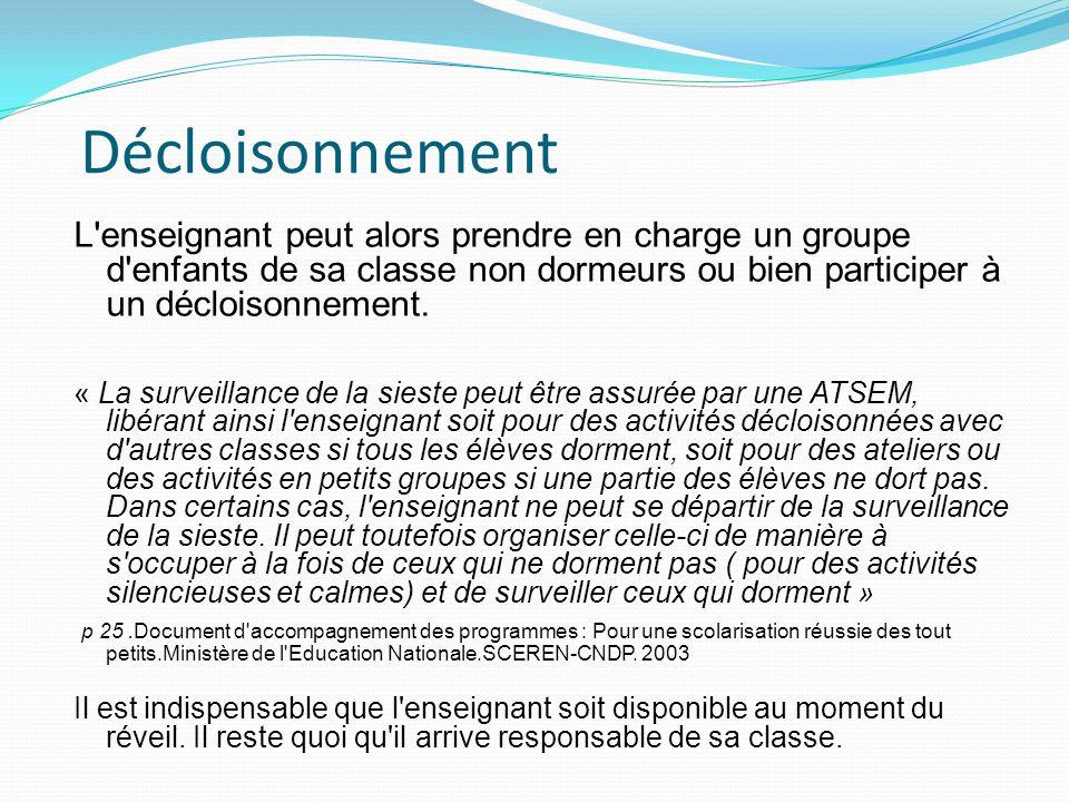 Décloisonnement L'enseignant peut alors prendre en charge un groupe d'enfants de sa classe non dormeurs ou bien participer à un décloisonnement. « La